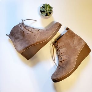 Lucky brand Suede wedge ankle bootie